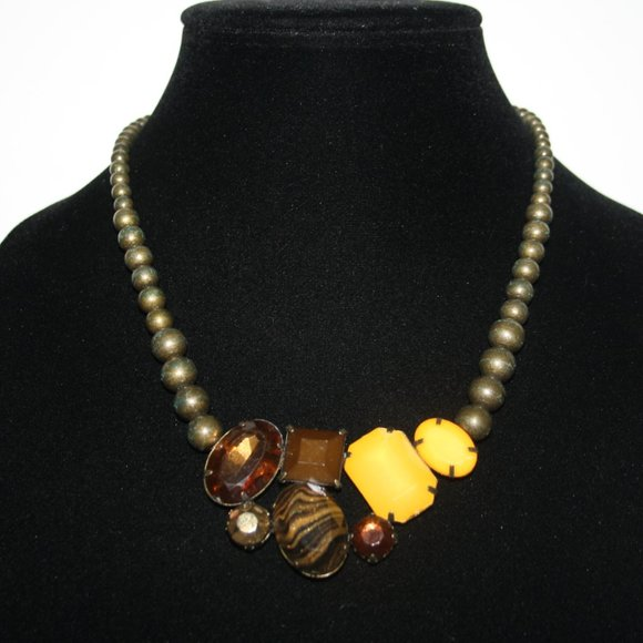 Rustic bronze brown and yellow bib style necklace